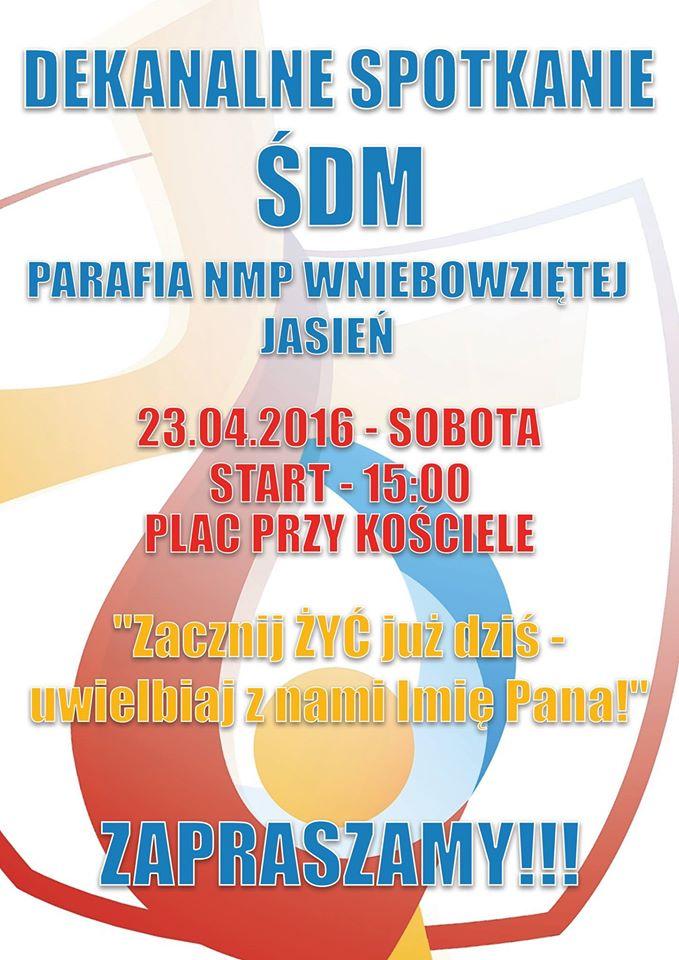Dekanalne Spotkanie ŚDM - Jasień - 23.04.2016 - Plakat